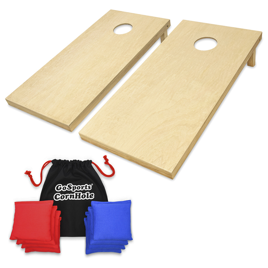 GoSports Regulation Size 4'x2' Wood Cornhole Boards Outdoor Tailgate Game Kit, with 8 Premium AllWeather Bean Bags and Portable Tote Carrying Case