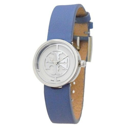 Tory Burch Women's Reva Leather Swiss Quartz Watch  Blue