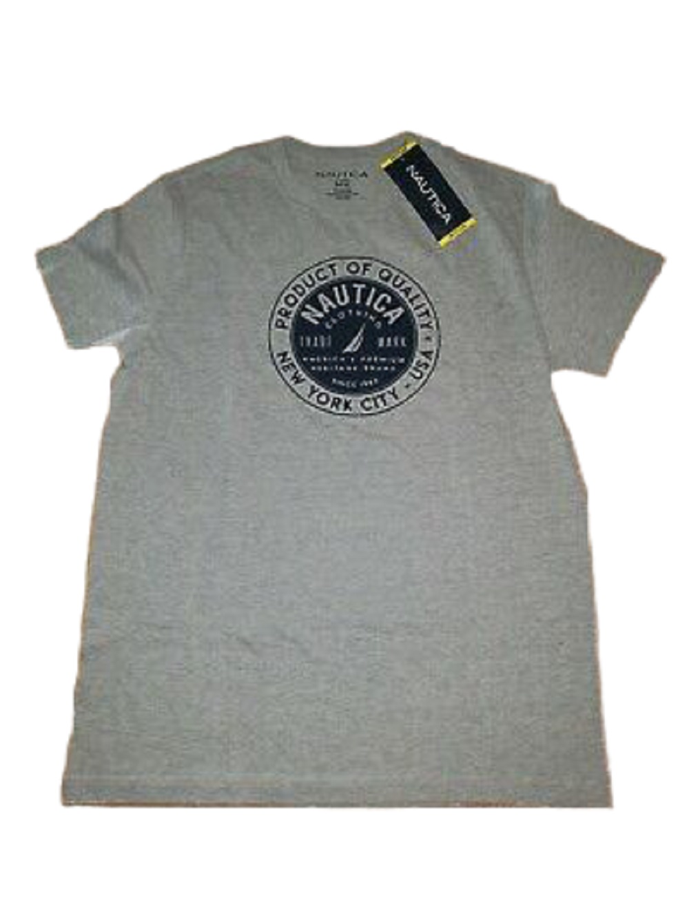 Nautica Mens Product of Quality New York Tshirt in Fog Heather, Size Large