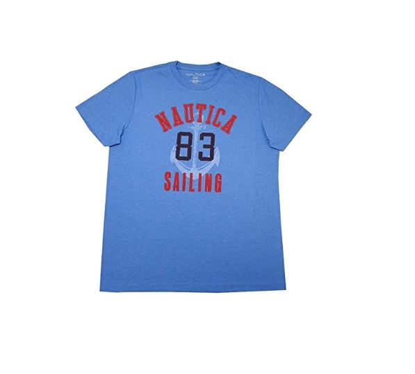 Nautica Mens 83 Sailing Short Sleeve Tshirt in Marina Blue Heather, Size Medium