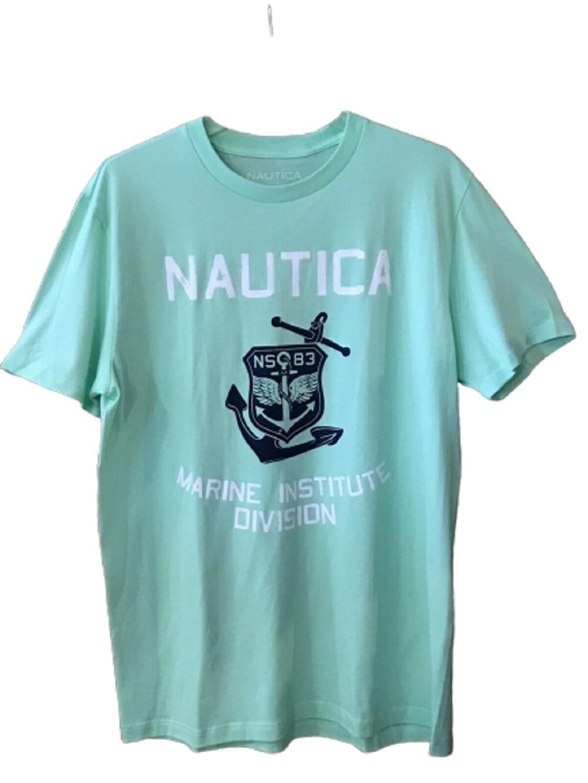 Nautica Mens Marine Institute Division Tee in Ash Green, Size XLarge