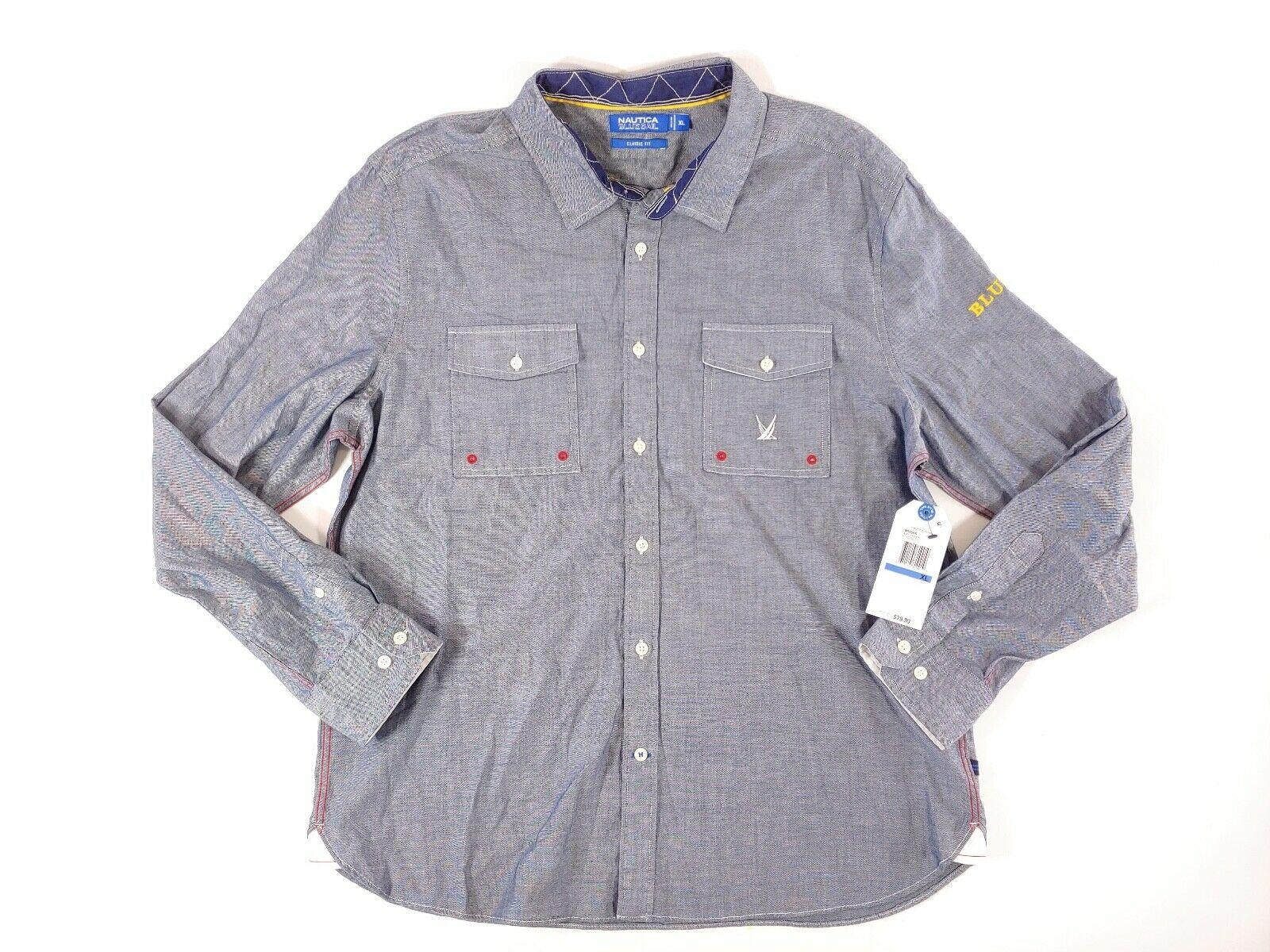 Nautica Mens Blue Sail ClassicFit Long Sleeve Dress Shirt,  M
