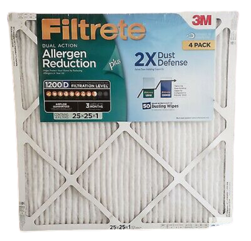 FILTRETE DualAction Micro Allergen Plus 2X Dust Defense Filter 25x25x1 (4 Pk.)