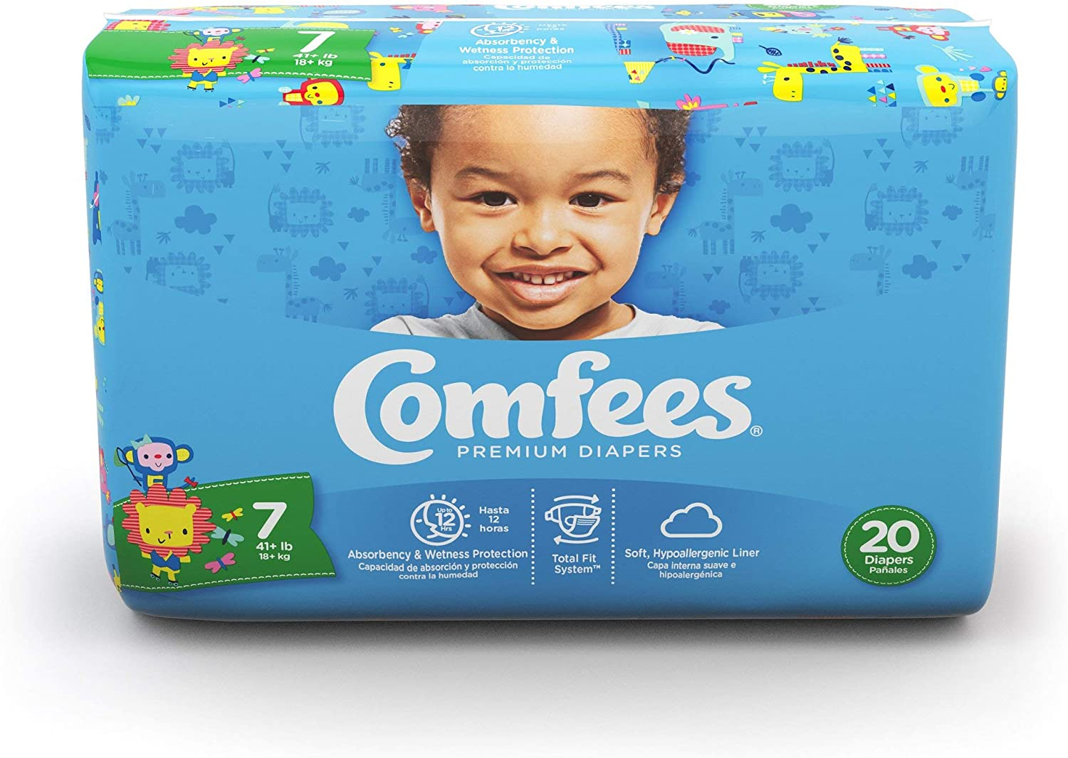 COMFEES Diapers Size 7, Disposable Baby Diapers, 20 Count, Economy Pack Plus