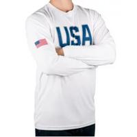 STATE OF MINE Men's Long Sleeve UV Tee USA in White, XXL