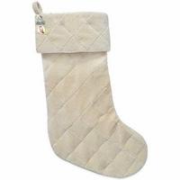 HARVEY LEWIS Velvet Baby Christmas Stocking Made with Swarovski Elements in Cream Set Of 2