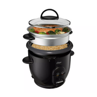 OSTER 6 Cup Electric Rice Cooker NonStick Auto Keep Warm Steam Fish Feat Veggie