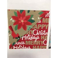 Hallmark Red Merry Christmas/Poinsettias on Gold Reversible Christmas Paper 2 Sided Roll  375 sq. ft