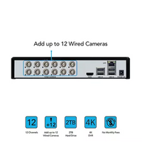 Night Owl Expandable 12 Channel Wired DVR with (10) 4K Ultra HD Wired Spotlight Cameras and 2TB Hard Drive