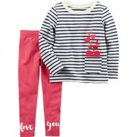 CARTERS Baby Girls 2 Pc. Stripe Heart Pocket Love You Set in Navy White Red, Size 12m