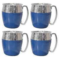 HAMMERED MOSCOW MULE SET 4 PACK MUGS  BLUE SILVER