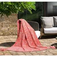 """Women Owned Indoor  Outdoor Throw (50"""" x 70"""") (Floral Coral)"""