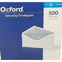 """Oxford #10 VFlap Gummed Security Envelope, 500 ct 4 1/8"""" x 9 1/2"""""""