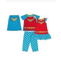 Wonder Woman Girls 3 piece Pajama Sleep Set, Size 5