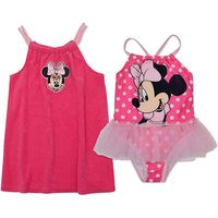 Disney Minnie Mouse Toddler Girls One Piece Pink Swimsuit with Tutu and Coverup