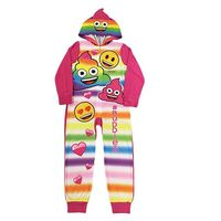 Emoji Little  Big Girls One Piece Fleece Sleeper Pajama with Hood (6) Multi