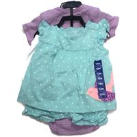 CARTER'S Baby Girl's Teal, Mauve and White Diaper Cover Set 4Piece Size 12M