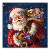 JOLLY OL ST NICK 20 INCH SQUARE LED CANVAS WALL ART