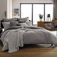 Kenneth Cole Reaction Home Oxford California King Bed Skirt In Grey Stripe