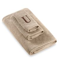Avanti Premier Brown Block Monogram Bath Towel Letter U in Linen