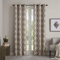 Madison Park Essentials Merritt Printed Fret Grommet Window Curtain Panel Pair in Khaki
