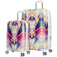 NICOLE MILLER STYLE ISOSCELES COLLECTION IMPACT RESISTANT OF POLYCARBONATE PLUS ABS 2PC LUGGAGE SET IN KALEIDOSCOPE