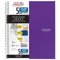 Five Star Spiral Notebook, 5 Subject, College Ruled Paper, 200 Sheets