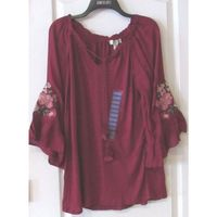 Womens VINTAGE AMERICA BLUES Beet Red Valerie Peasant Blouse Shirt