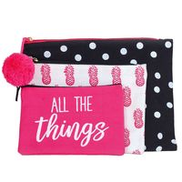 Olive  Hill Canvas Trio Pouch 3 Piece Set All The Things in Pink