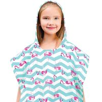 Kids' Hooded Beach Poncho in Flamingo