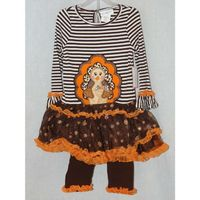 Girls Thanksgiving Emily Rose Brown Orange 2PC Pumpkin Outfit 3T