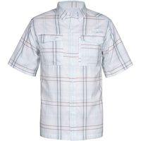 Habit Men's Short Sleeve Promo River Shirt In Angel Falls Downstream Blue Plaid, Size M