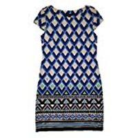 JESSICA HOWARD MISSY PRINT DRESS (BLUE, BLK, WHITE, MEDIUM)