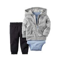 Carter's 3 Piece Hoodie, Pants, Bodysuit Set for Baby Boys (18 Months, Blue Grey)
