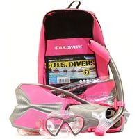 U.S. Divers Lux Snorkeling Youth Set Pink/Grey Size Large 58  Silicone Snorkel Mask, Fins, Snorkel + Bag