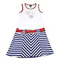 Pink And Violet Girls Size Xlarge (14/16) Sleeveless Stripe Dress, Red/white/blue