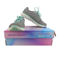Skechers Womens Size 8.5 Synergy Look Book Fashion Sneaker Shoes, Grey/Mint,