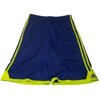 Adidas Performance Boys Drawstring Athletic Shorts In Blue Yellow Stripe, Large