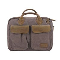 Renwick Canvas Briefcase with Genuine Leather Trim In Grey
