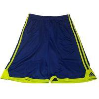 Adidas Performance Boys Drawstring Athletic Shorts In Blue With Yellow Stripe, Medium