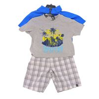 Quiksilver 3 Pc Boy Clothing Set in Snorkel Blue Heather, Size 6