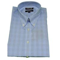 Kirkland Signature Mens Oxford Dress Shirt, Blue/Grey and white stripe, Size XXL