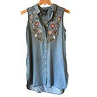 Terre Bleue Slvless Floral Embroidered Shirt Dress Women's Denim Blue, Small