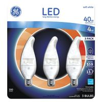 GE LIGHTING. LED Decorative 4W/40W replacement. 3 Bulbs Pack. Soft white