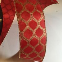 Member's Mark Premium Wired Holiday Ribbon 2.5 Inch Width In Red and Gold Pattern