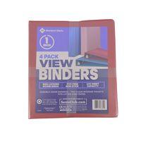 Member's Mark 1 Inch View Binders, 4 Pack Pastel Blue Pink
