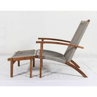 Made4Home Empress Lounge Armchair Acacia Wood Handwoven Rope Footrest All Weather  M4H 1672
