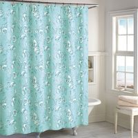 Destinations Seashell Toile Shower Curtain in Blue