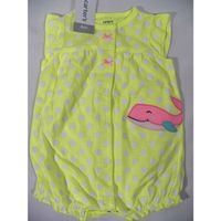 Carter's Baby Girls' Dotted Whale Snap up Romper In Neon Yellow, Size 6M