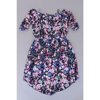 Pink  Violet Girl's Floral Tie Waist High Low Dress in Navy Floral Size XL (14/16)